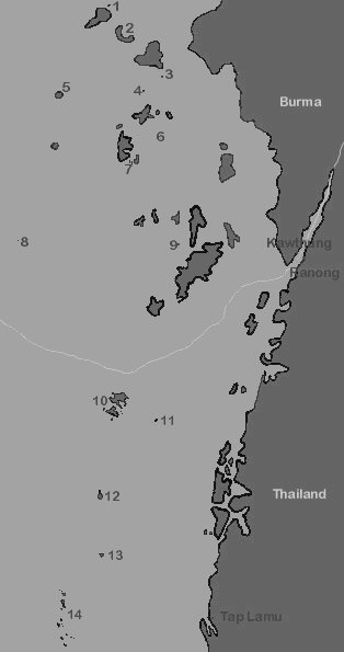 Map of dive sites in Thailnad and Burma